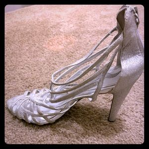 Silver sparkling strappy shoes!